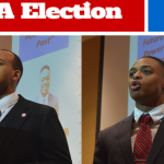 Chris Hellams (left) and David Burdette  (right), presidential candidates, address SGA during a debate April 15 in the Psychology Building. The candidates discussed their platforms and their visions as potential presidents for SGA.