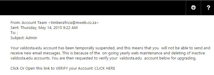 A phish out of an email; a recent phishing attack sent through VSU emails