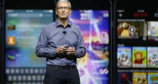 Apple CEO Tim Cook introduces the company's newest products during a media event at the Bill Graham Civic Auditorium in San Francisco on Wednesday, Sept. 9, 2015. (Karl Mondon/Bay Area News Group/TNS)