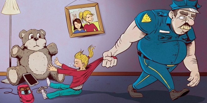 300 DPI Erik Nelson Rodriguez Illustration to go with a story about parents creating imaginary enforcement to keep them in line. TNS 2015  with BC-MOMS-SCARING-KIDS-IS-GOOD:SJ