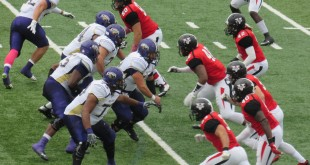 The Blazers' defensive front readies for North Alabama's offense on an Oc. 3 game. Valdosta State was defeated 34-12 by UNA. (Photo Courtesy: Darian Harris)