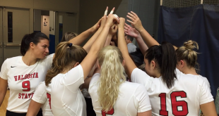 Blazer volleyball huddles before the game against the West Florida Argonauts. The team faced its first loss of the season after being on a 12 game winning streak. The two teams will meet again on Oct. 20 in Valdosta. (Photo Courtesy: valdosta.edu)