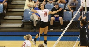 Outside hitter Antia Rodriguez-Sanchez attempts to spike in the game against Palm Beach Atlantic. The team is on a three-game winning streak going into the weekend with a game against Lee and Short University. (Photo Courtesy: vsublazers.com)