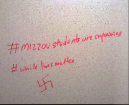 This photo was taken in a Nevins Hall bathroom. The hashtag is in response to the protests at the University of Missouri. (Photo Courtesy: Mia Rawls)