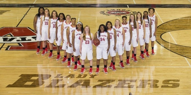 The Lady Blazers line up for a team photo. The team is 2-0 thus far and plays its next game on Saturday against Trinity Baptist. The first Gulf South Conference game for the Ladies is at home on Dec. 3 against North Alabama. (Photo Courtesy: Valdosta Athletics)