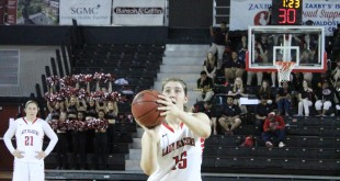 Madi Mitchel (15) attempts a free throw in the Blazers' 61-55 win over West Florida last Saturday at  the Complex.