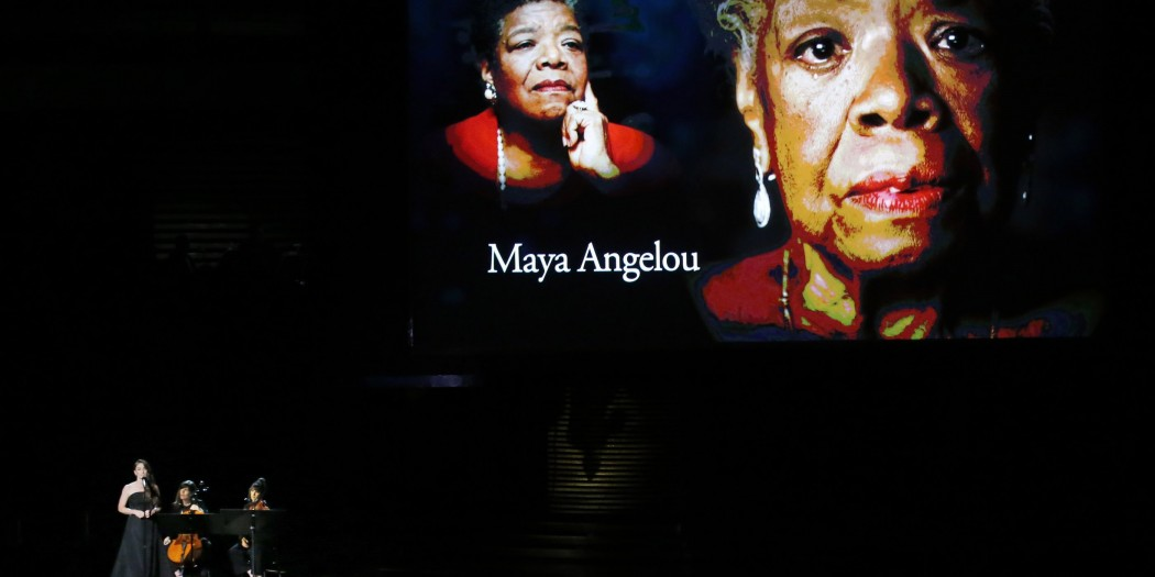 """With Maya Angelou on the screen, Sara Barielles sings """"Smile"""" during the memorium during the 66th Annual Primetime Emmy Awards at Nokia Theatre at L.A. Live in Los Angeles on Monday, Aug. 25, 2014. (Robert Gauthier/Los Angeles Times/MCT)"""