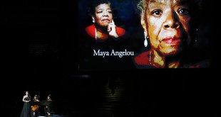 "With Maya Angelou on the screen, Sara Barielles sings ""Smile"" during the memorium during the 66th Annual Primetime Emmy Awards at Nokia Theatre at L.A. Live in Los Angeles on Monday, Aug. 25, 2014. (Robert Gauthier/Los Angeles Times/MCT)"