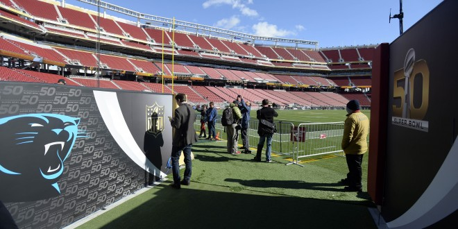 The walls of the Carolina Panthers' entrance to the field are decorated during a tour on Tuesday, Feb. 2, 2016, of Levi's Stadium in Santa Clara, Calif., site of Super Bowl 50 on Sunday. (David T. Foster III/Charlotte Observer/TNS)