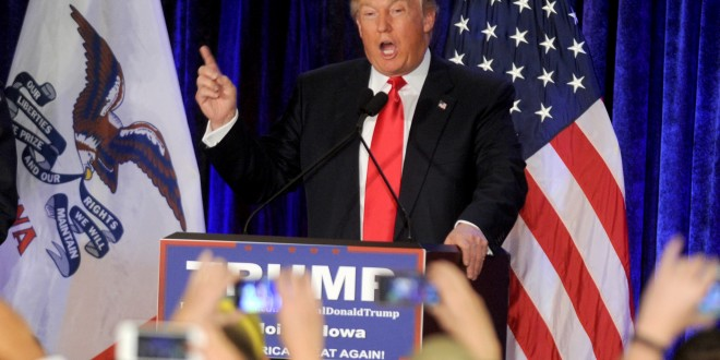 Republican presidential candidate Donald Trump speaks after coming in second place at his Iowa caucus night gathering in Des Moines, Iowa, on Monday, Feb. 1, 2016. (Dennis Van Tine/Abaca Press/TNS)
