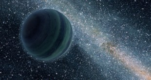 This artist's conception illustrates a gas giant planet alone in the dark of space, ejected from its own star system. Astronomers think our solar system might hold a distant ninth planet, hurled to the fringes during the solar system's early evolution. (NASA/JPL-Caltech)