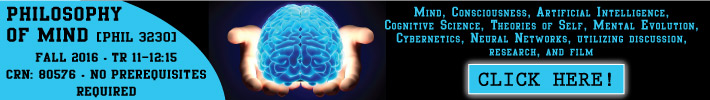 Philosophy of Mind: Mind, consciousness, artificial intelligence, cognitive science, theories of self, mental evolution, cybernetics, neural networks, utilizing discussion, research, and film. Click here for info!