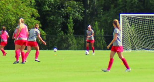 The women's soccer team has been practicing for the season opener, which will now be held against Auburn University at Montegomery due to rain from Tropical Storm Hermine (Photo Credit: Kimberly Cannon/THE SPECTATOR)