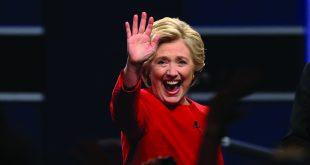 Democrat Hillary Clinton greets the audience after attending the first presidential debate with Republican Donald Trump on Monday, Sept. 26, 2016 at Hofstra University in Hempstead, N.Y. (Qin Lang/Xinhua/Sipa USA/TNS)