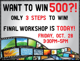 Want to Win $500? Last workshop is today! Friday, Oct. 28 3:30-5pm. Click to here for info! http://tinyurl.com/vsuexperience.