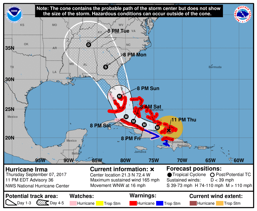 Irma weakens to a Tropical Storm as it moves over Florida