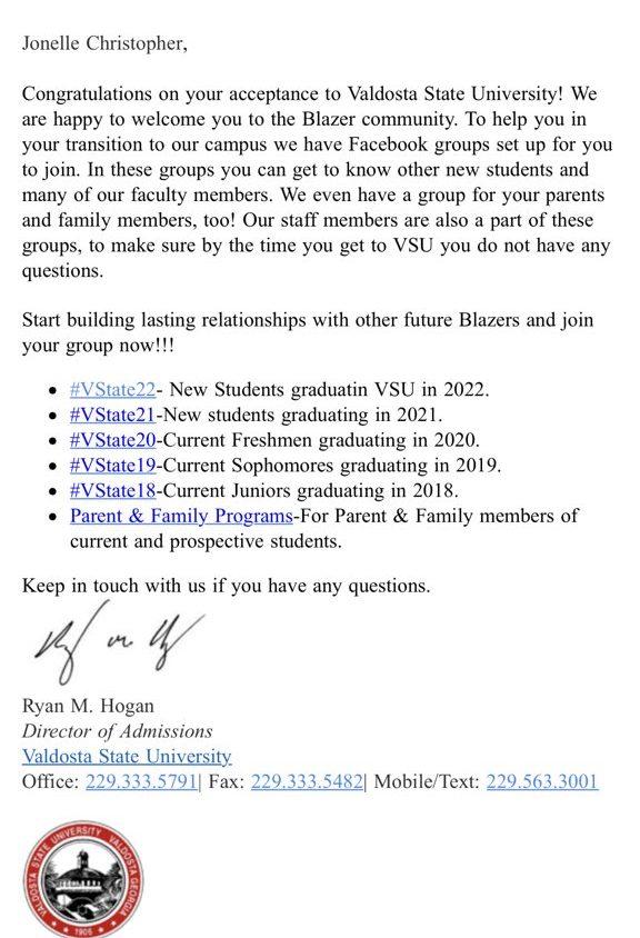 Valdosta state university sends out accidental acceptance letters valdosta state university sends out accidental acceptance letters altavistaventures Choice Image