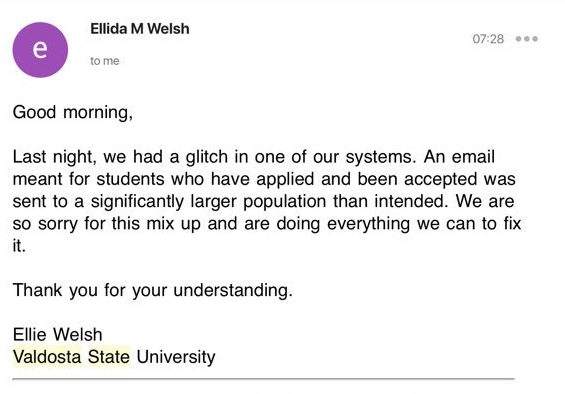 valdosta state university sends out accidental acceptance letters